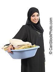 gyönyörű, arab, nő, szállítás, mosoda