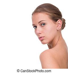 gyönyörű arc, közül, kisasszony, noha, kitakarít, friss, bőr, elzáródik, elszigetelt, képben látható, white.