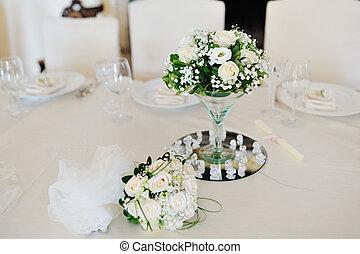 gyönyörű, asztal, menstruáció, nap, esküvő