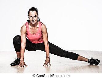 gyönyörű, atléta, nő, cselekedet, alkalmasság gyakorlás