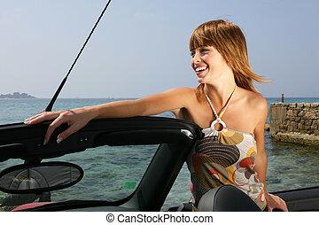 gyönyörű, autó, átváltható, nő, neki