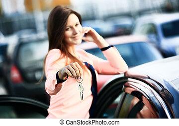 gyönyörű, autó, fiatal, kéz, kulcs, új, leány