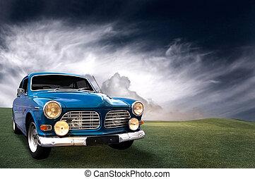 gyönyörű, autó, klasszikus