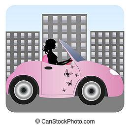 gyönyörű, autó, leány, vezetés