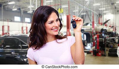 gyönyörű, autó, nő, kulcs