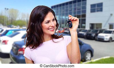 gyönyörű, autó woman, key.