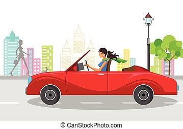 gyönyörű, autó woman, vezetés