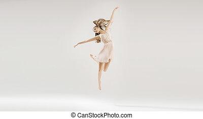 gyönyörű, balett-táncos, tehetséges, fiatal