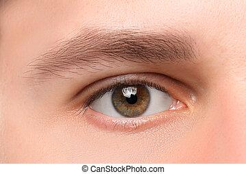 gyönyörű, barna, ember, szem, elzáródik