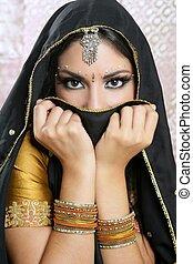 gyönyörű, barna nő, asian lány, noha, fekete, függöny,...