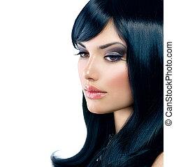 gyönyörű, barna nő, egészséges, hosszú szőr, girl., fekete