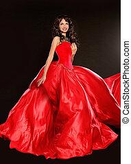gyönyörű, barna nő, fárasztó, alatt, fújás, piros ruha, elszigetelt, képben látható, black háttér