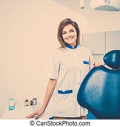 gyönyörű, barna nő, fogász, fiatal, fogász, női, sebészet