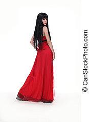 gyönyörű, barna nő, leány, alatt, piros ruha, elszigetelt, white