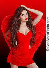 gyönyörű, barna nő, mód, leány, formál, feltevő, alatt, piros ruha, noha, nyugat