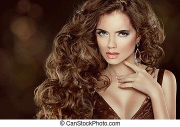 gyönyörű, barna, nő, szépség, elszigetelt, hosszú, pazar, haj, hullámos, portrait., haj, háttér, sötét, formál, mód, leány