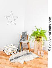 gyönyörű, berendezés, kényelmes, lakberendezési tárgyak, zöld, otthon, textilek