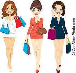 gyönyörű, bevásárlás, ügy women