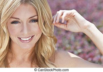 gyönyörű, blue szem, nő, szőke, naturally