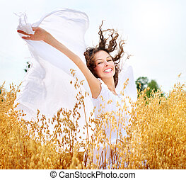 gyönyörű, boldog, leány, képben látható, a, búza terep