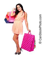 gyönyörű, boldog, leány, noha, bevásárol táska