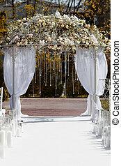 gyönyörű, bolthajtás, a kertben, helyett, esküvő, ceremony.