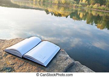 gyönyörű, book., táj