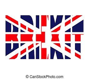 gyönyörű, brexit, uk, szöveg, jelkép, elszigetelt, ábra, lobogó, vektor, háttér, fehér, ikon, design.