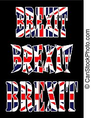 gyönyörű, brexit, uk, szöveg, jelkép, elszigetelt, ábra, sötét, lobogó, vektor, háttér, ikon, design.
