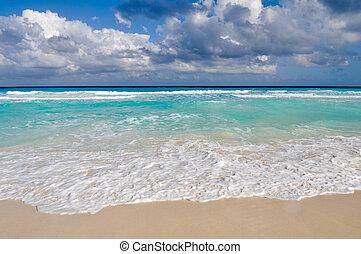 gyönyörű, cancun, tengerpart, óceán, mexikó
