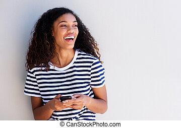 gyönyörű, cellphone, nő, fiatal, nevető