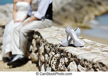 gyönyörű, cipők, esküvő