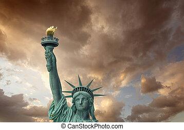 gyönyörű, city., sky., -, szabadság, york, szobor, elülső, új, kilátás