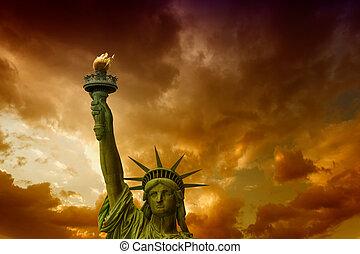 gyönyörű, city., -, szabadság, york, szobor, elülső, új, kilátás