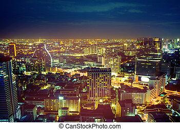 gyönyörű, cityscape, közül, a, ázsiai, modern, város