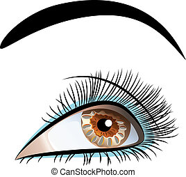 gyönyörű, closeup, vektor, szem, női
