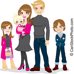 gyönyörű, család, boldog