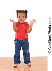 gyönyörű csecsemő, ugrás, imádnivaló, afrikai