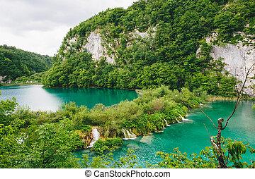 gyönyörű, csendes, táj, tó