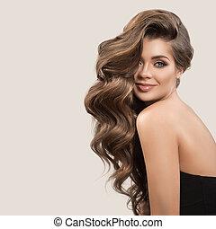 gyönyörű, csinos, nő, göndör, barna, hosszú, háttér., szürke, hair., portré