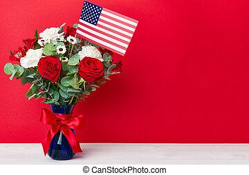 gyönyörű, csokor, american lobogó, háttér, piros