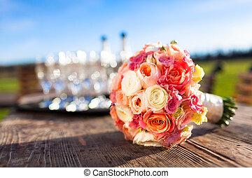 gyönyörű, csokor, esküvő