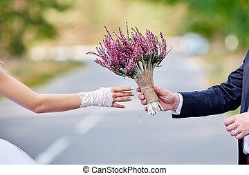 gyönyörű, csokor, lovász, menyasszony, esküvő, ad