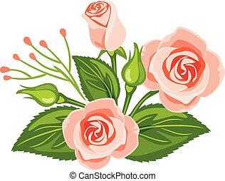 gyönyörű, csokor, rózsaszín rózsa