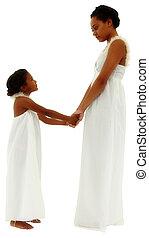 gyönyörű, darabka, lány, anya, arc, fekete, hatalom kezezés, portré, path.