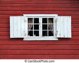 gyönyörű, dekoratív, ablak, öreg