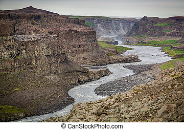 gyönyörű, dettifoss, vízesés, izland