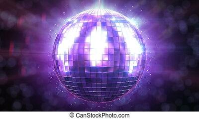 gyönyörű, disco labda, fonás, loop.