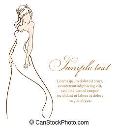 gyönyörű, dress., ábra, menyasszony, vektor, esküvő, fehér