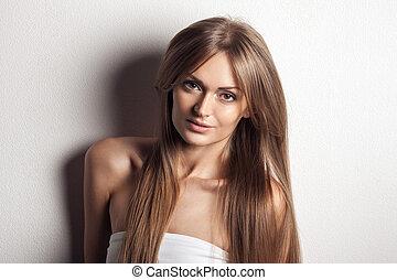 gyönyörű, egészséges, woman., hosszú, hair.